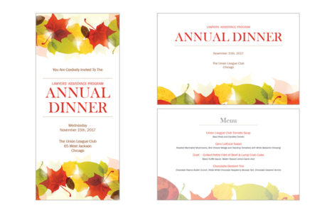 Design of an annual dinner invitation and event program.