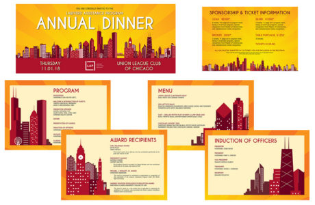 Design of invitations, response cards and an event program for an annual dinner.